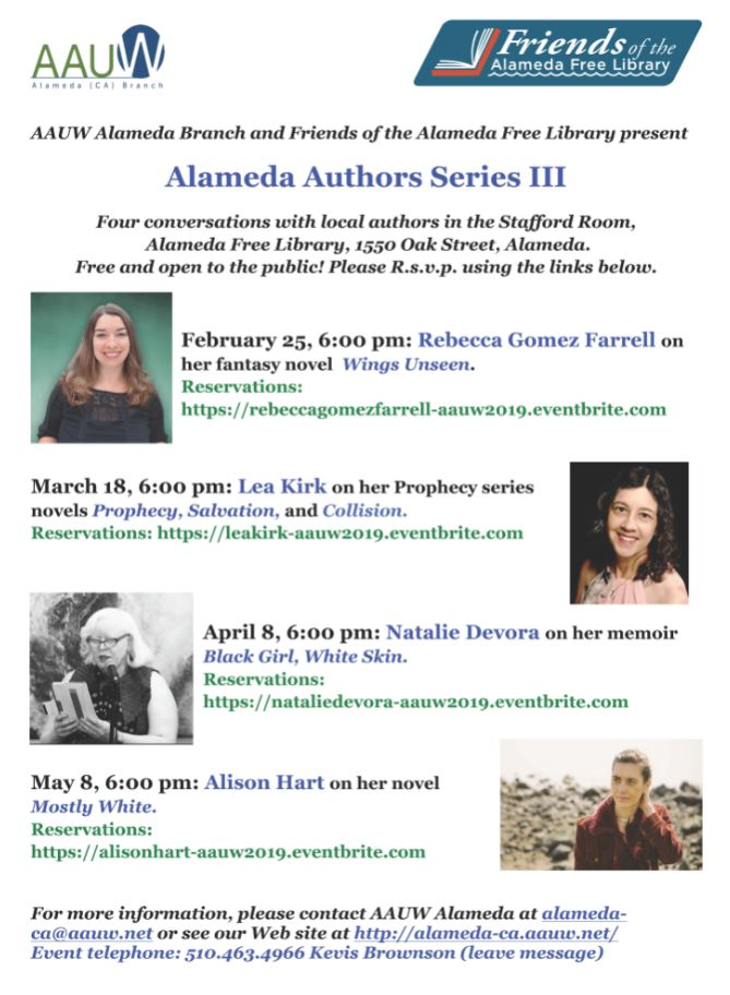 aauw, alameda author series, rebecca gomez farrell, wings unseen, east bay literary event