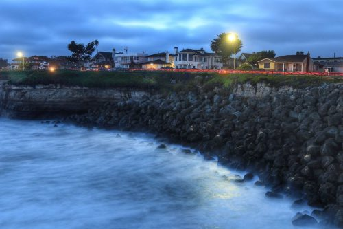 c-shell photo, santa cruz, west cliff, night, cliffs