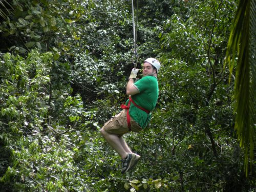 Ben Farrell, ziplining, jamaica, zipline, man ziplining