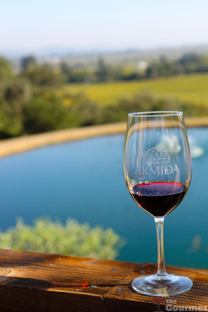 wine road, armida, winery, lake, winter wineland, red wine glass