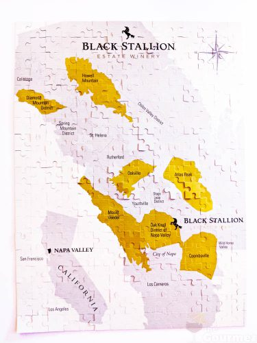 black stallion, wine, winery, estate winery, puzzle, napa valley, wine region map