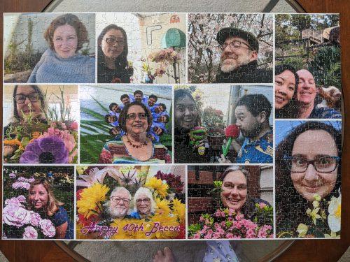 rebecca gomez farrell, birthday, puzzle, flowers