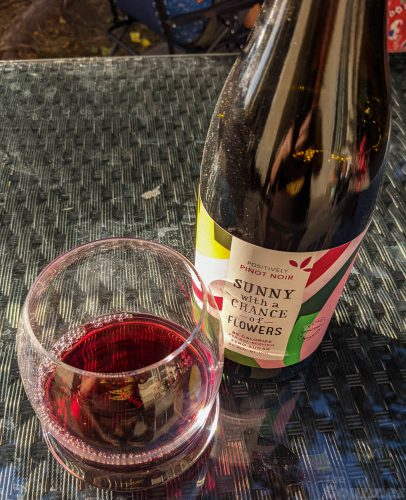 the gourmez, wine review, wine tasting, low calorie wine, low cal wine, better for you wines, low alchol wines, no sugar wines, sunny with a chance of flowers, wine, monterey wine, california wine, pinot noir