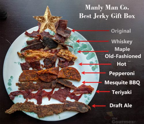 manly man, manly man co, beef jerky, jerky, meat bouquet, jerky bouquet, gift box, review, beef jerky christmas tree